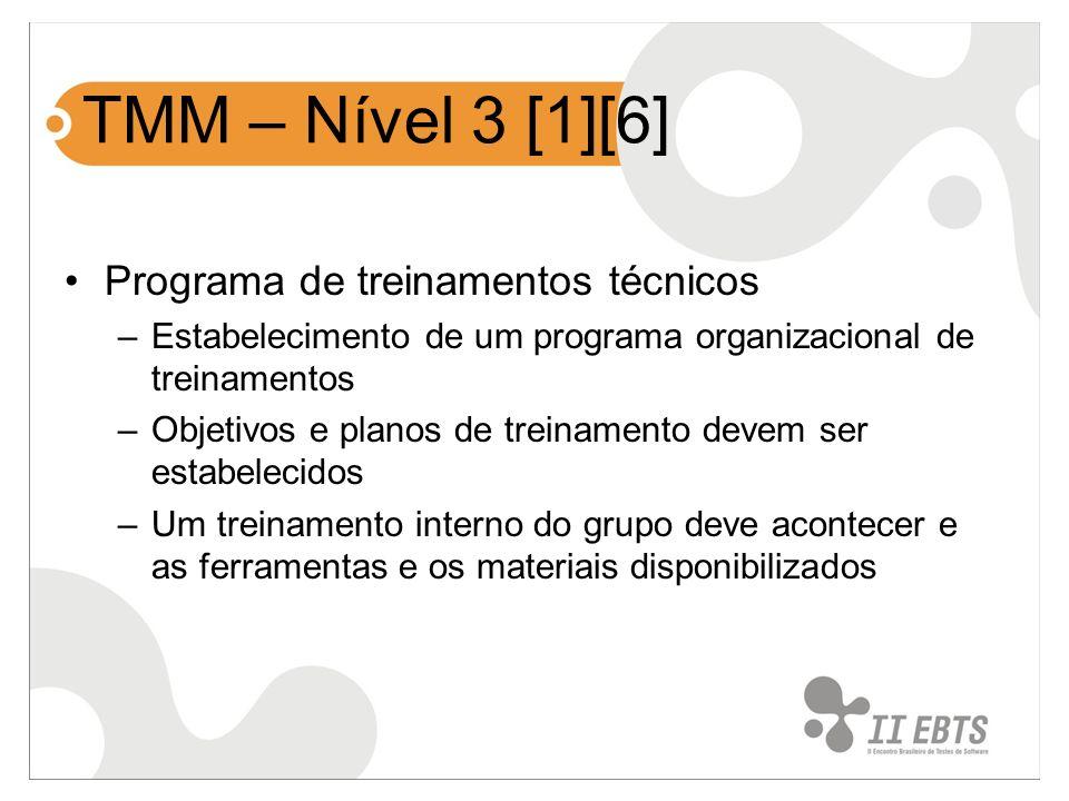 TMM – Nível 3 [1][6] Programa de treinamentos técnicos